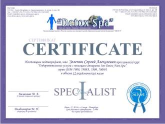 Сертификат Ion Detox Spa обучение